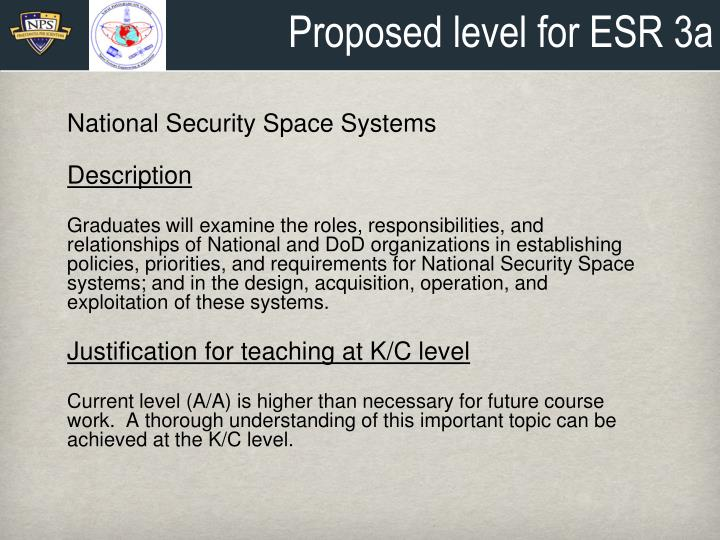 Proposed level for ESR 3a