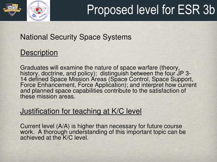 Proposed level for ESR 3b