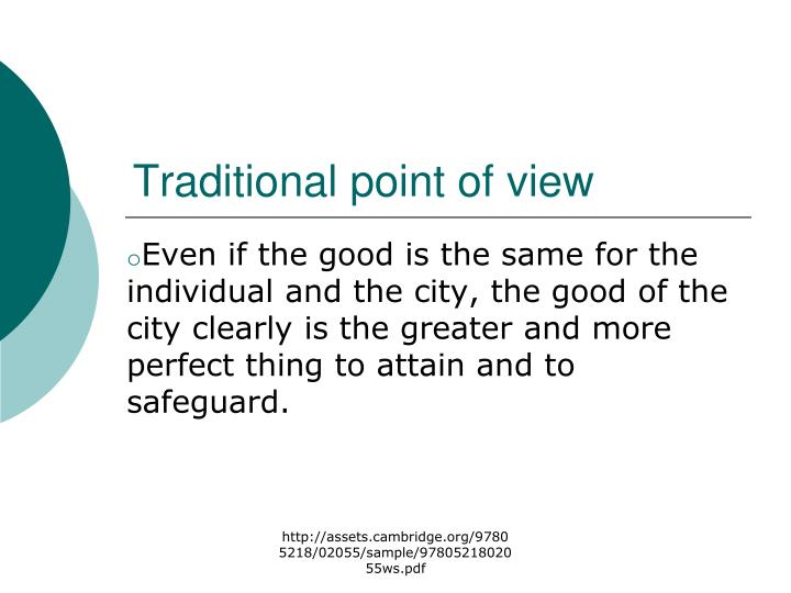 Traditional point of view
