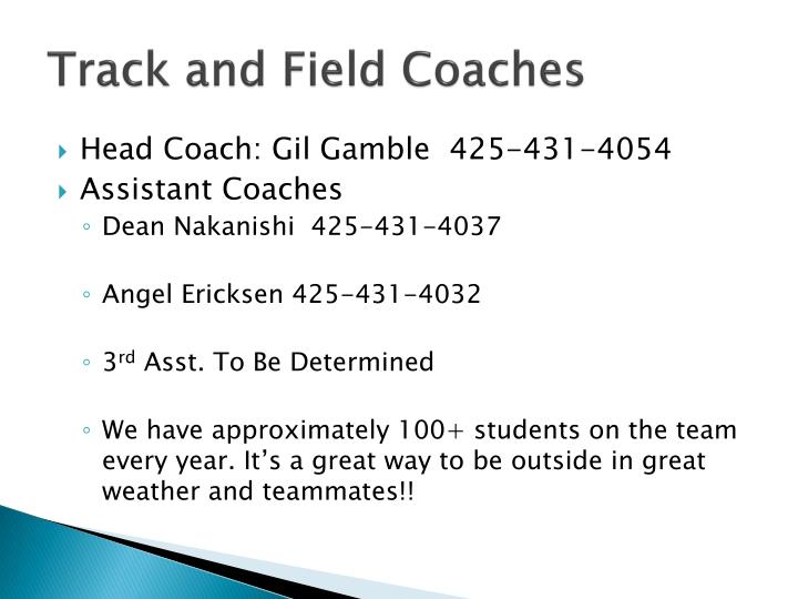 Track and Field Coaches