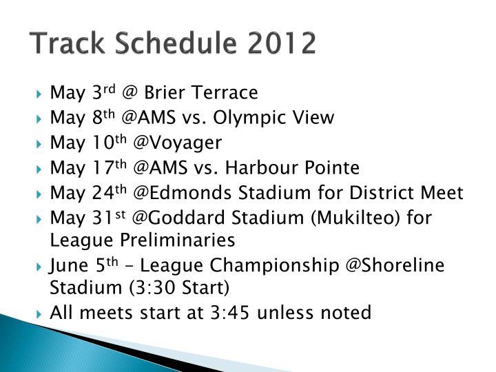 Track Schedule 2012