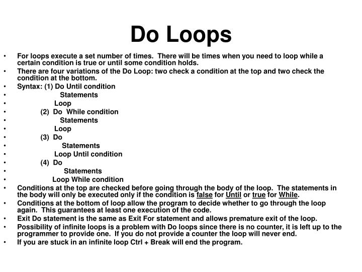 Do Loops