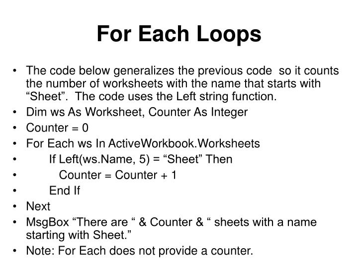 For Each Loops