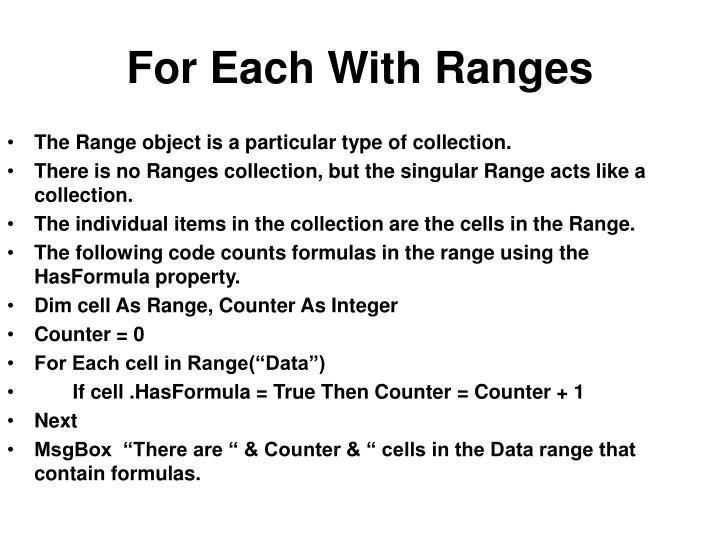 For Each With Ranges