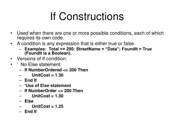 If Constructions