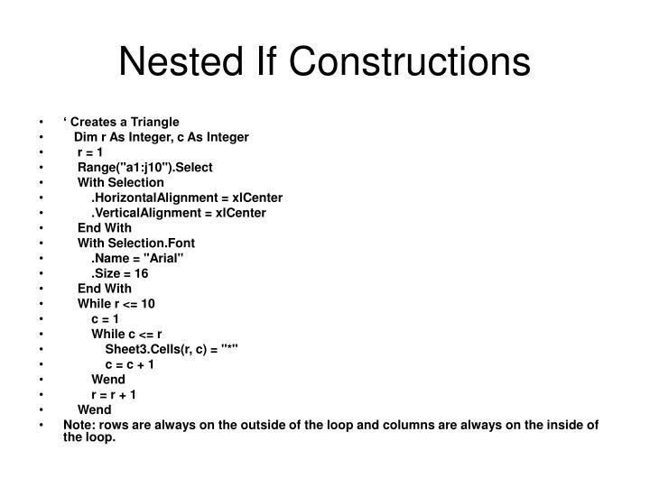 Nested If Constructions