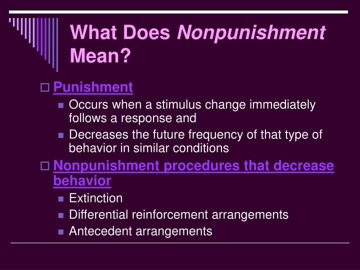 What does nonpunishment mean