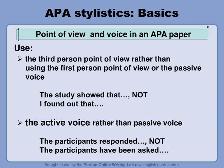 APA stylistics: Basics