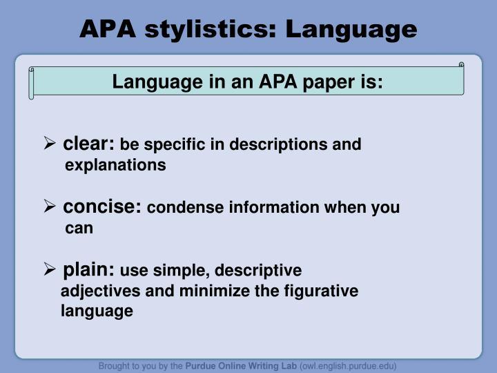 APA stylistics: Language