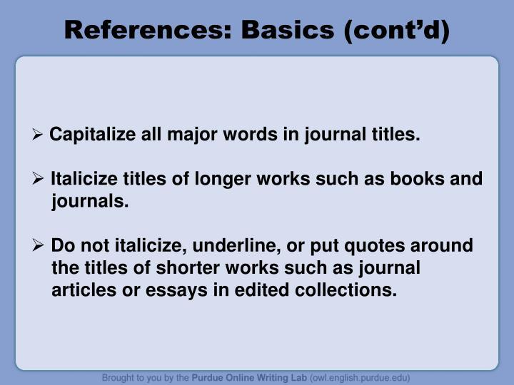 References: Basics (cont'd)
