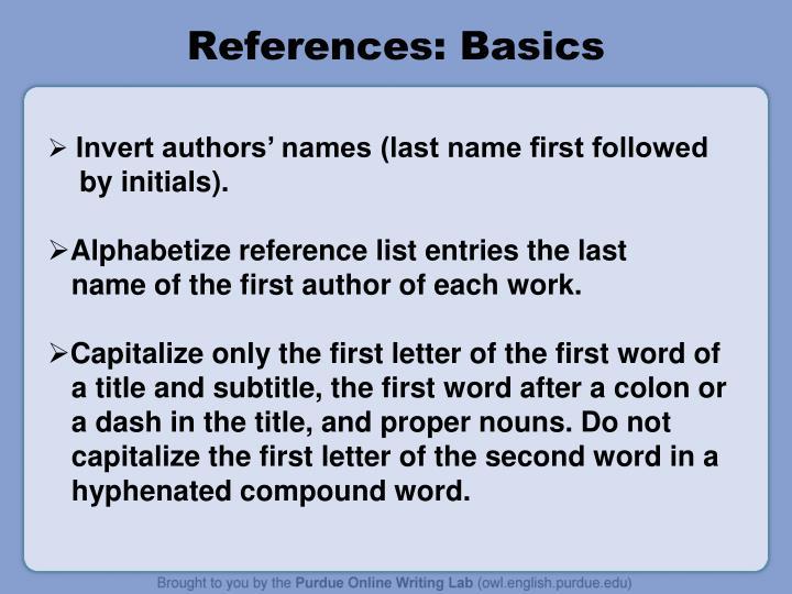 References: Basics
