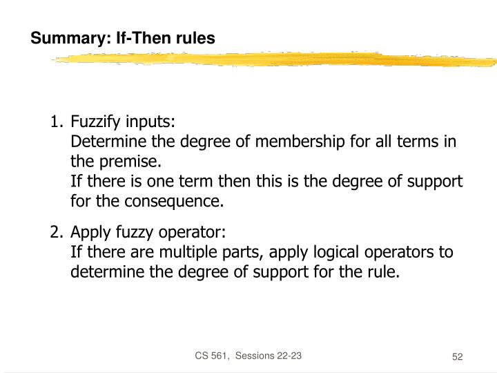 Summary: If-Then rules