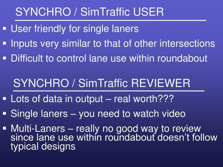 SYNCHRO / SimTraffic USER
