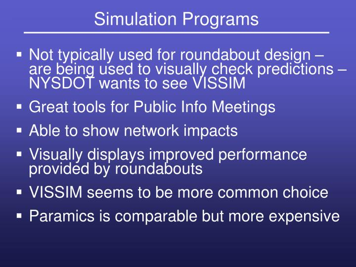 Simulation Programs