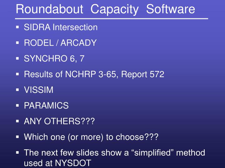 Roundabout  Capacity  Software