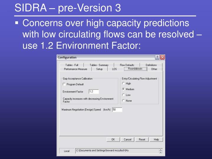 SIDRA – pre-Version 3
