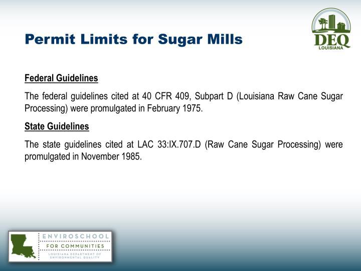 Permit Limits for Sugar Mills
