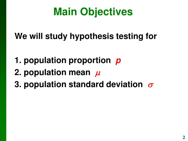 We will study hypothesis testing for