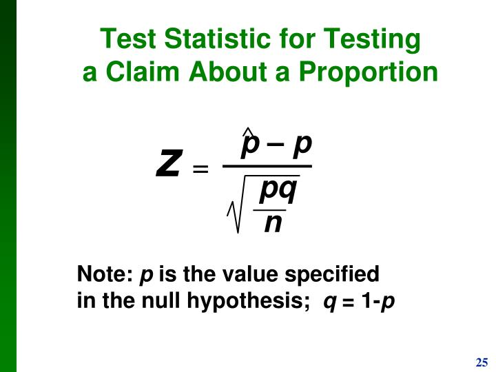 Test Statistic for Testing