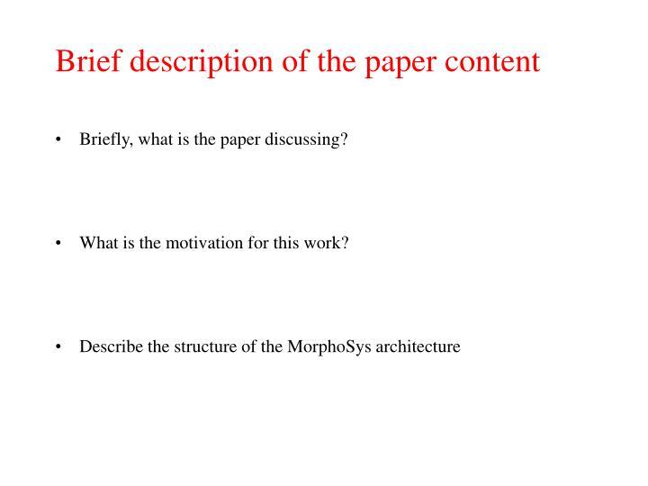 Brief description of the paper content