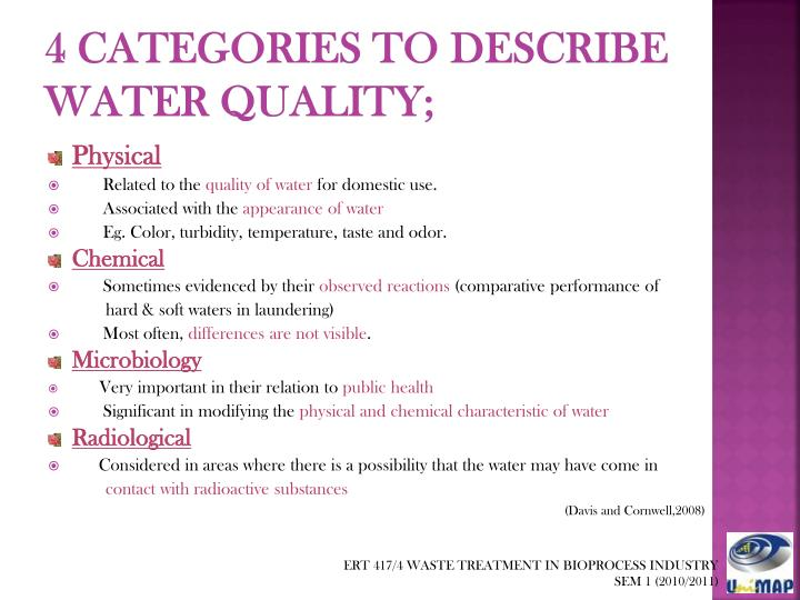 4 categories to describe water quality