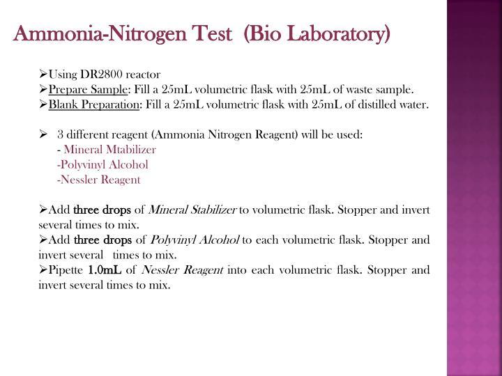 Ammonia-Nitrogen Test  (Bio Laboratory)