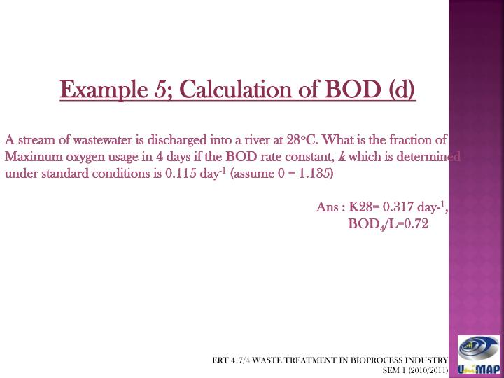 Example 5; Calculation of BOD (d)