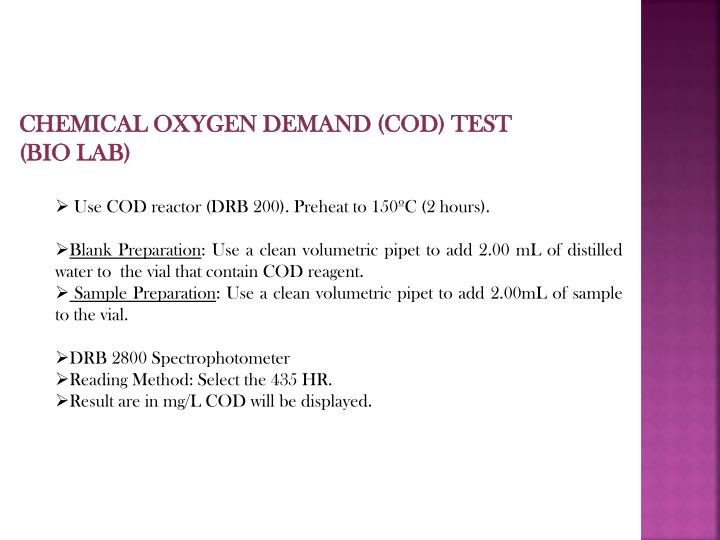 CHEMICAL OXYGEN DEMAND (COD) TEST