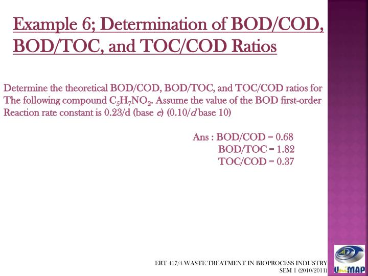 Example 6; Determination of BOD/COD,