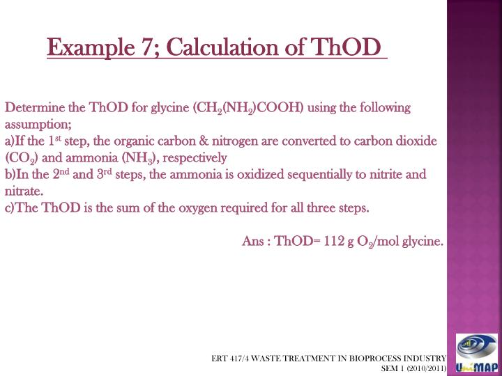 Example 7; Calculation of