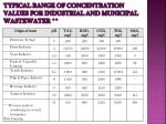 typical range of concentration values for industrial and municipal wastewater