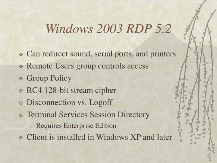 Windows 2003 RDP 5.2