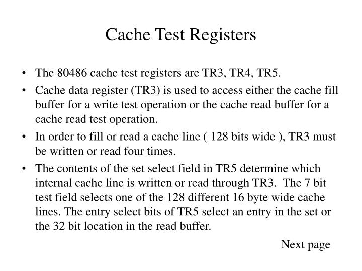 Cache Test Registers