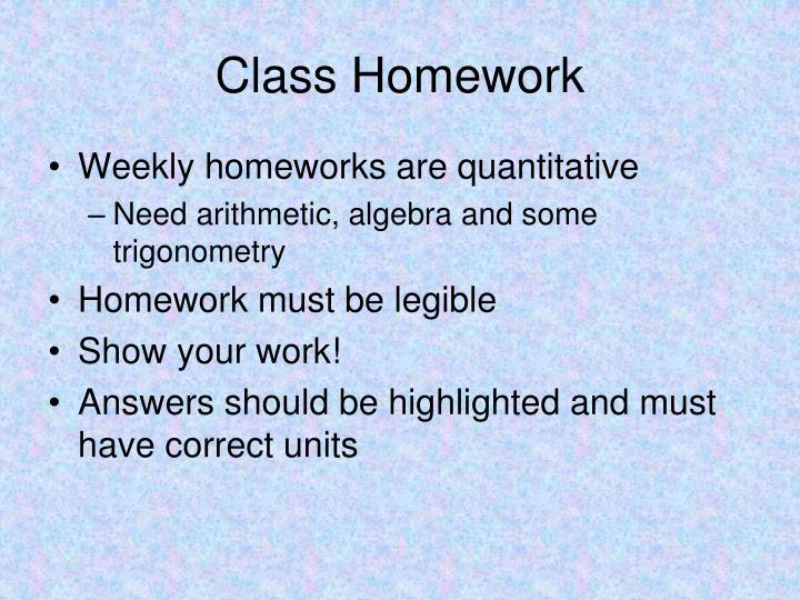 Class Homework