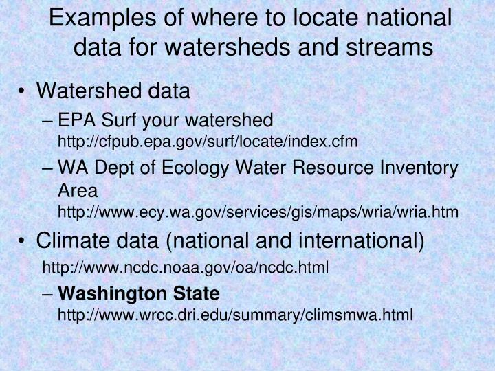 Examples of where to locate national