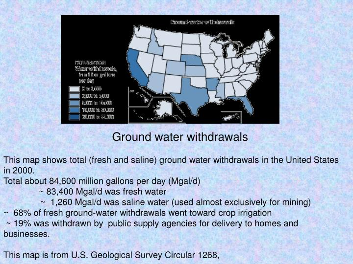 Ground water withdrawals