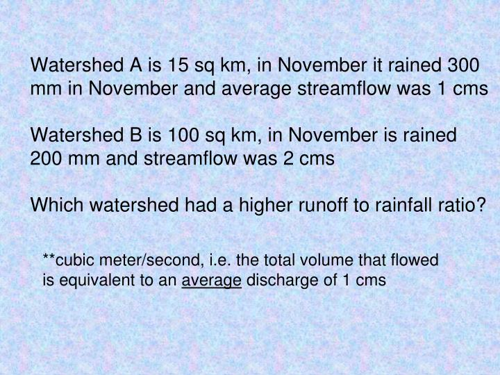Watershed A is 15 sq km, in November it rained 300 mm in November and average streamflow was 1 cms