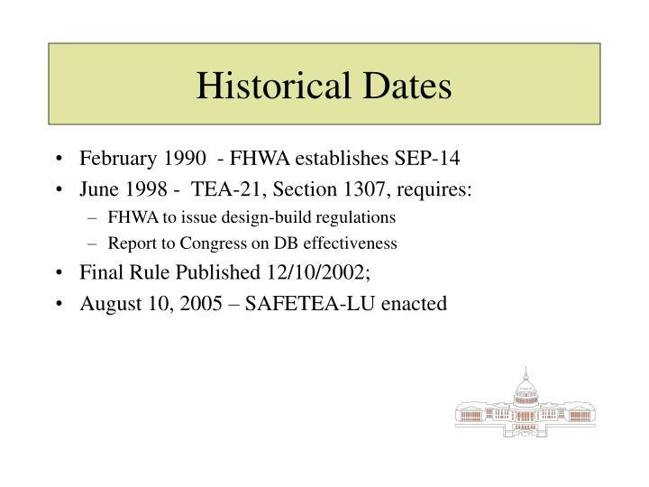 Historical Dates