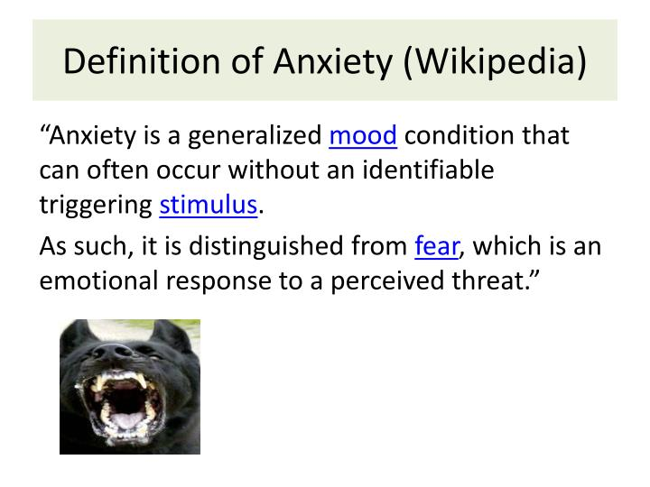 Definition of Anxiety (Wikipedia)