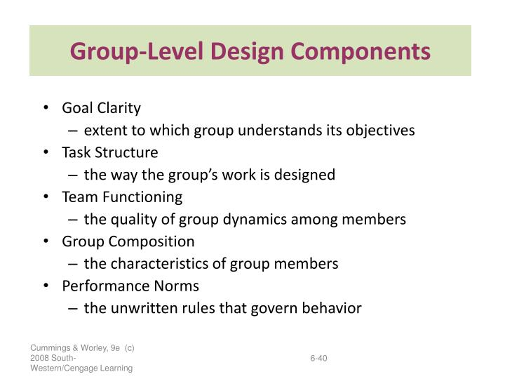 Group-Level Design Components