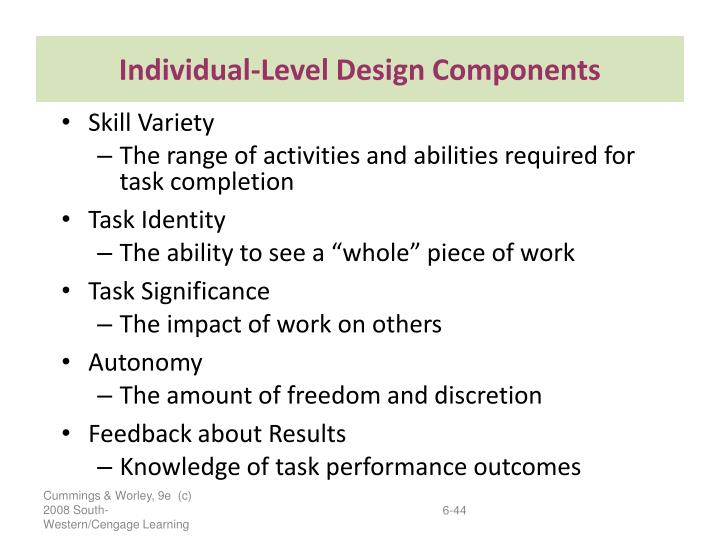 Individual-Level Design Components