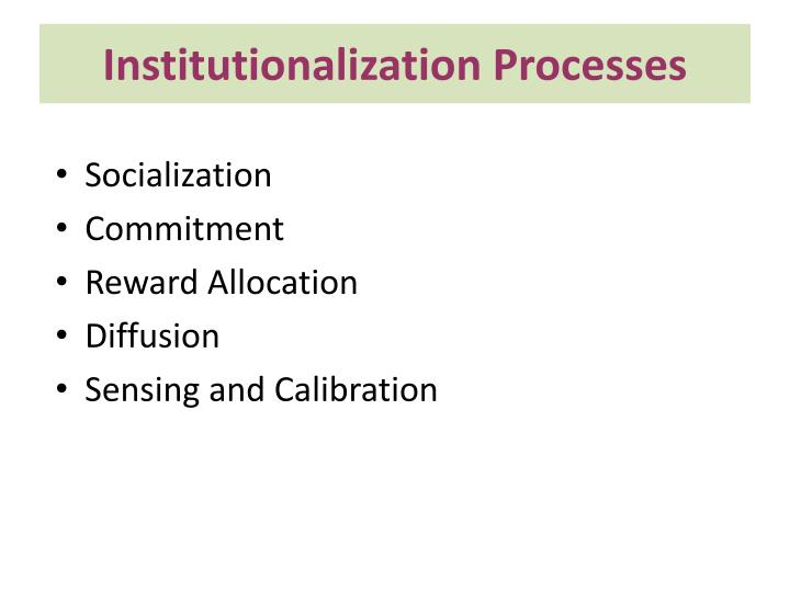 Institutionalization Processes