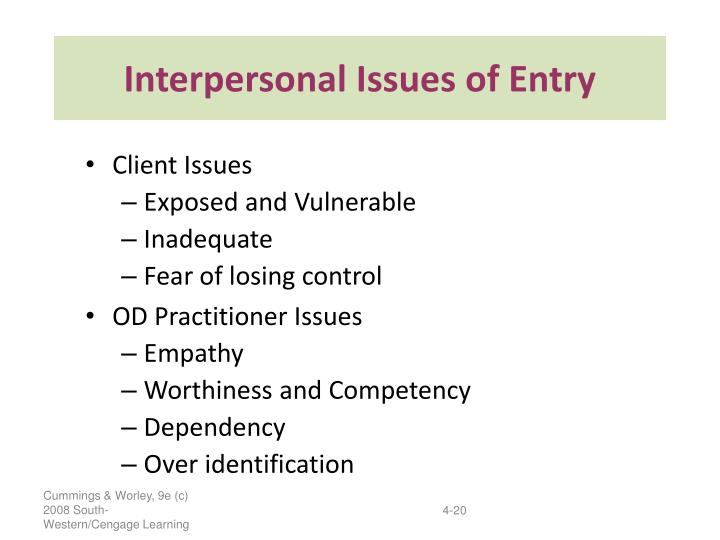 Interpersonal Issues of Entry