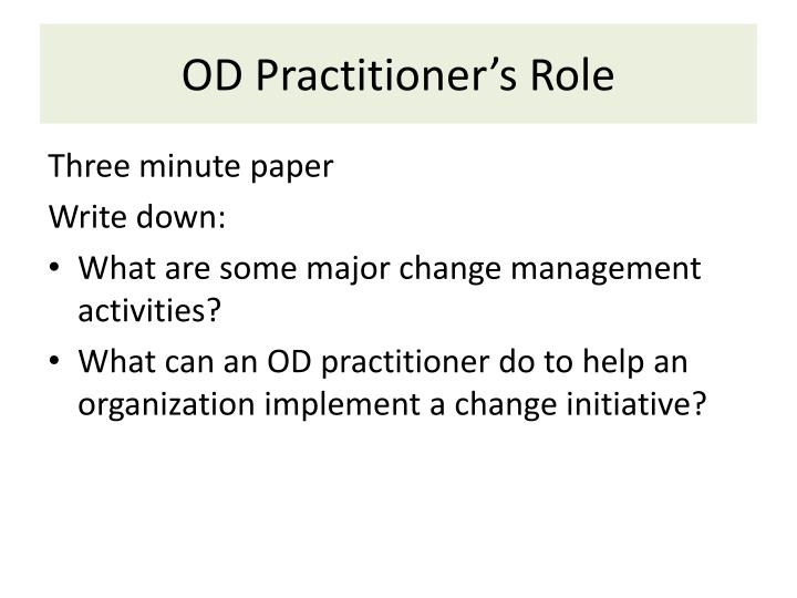 OD Practitioner's Role