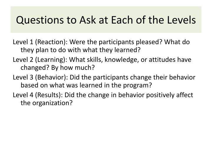 Questions to Ask at Each of the Levels