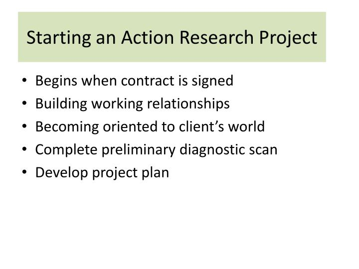 Starting an Action Research Project