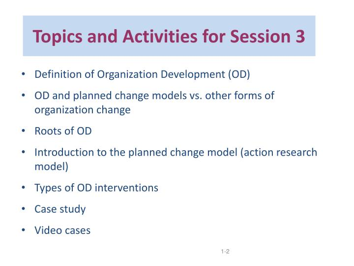 Topics and Activities for Session 3