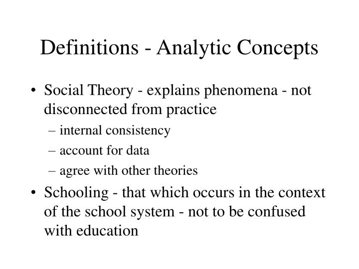 Definitions - Analytic Concepts