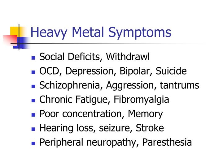 Heavy Metal Symptoms