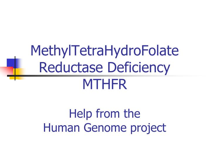Methyltetrahydrofolate reductase deficiency mthfr help from the human genome project